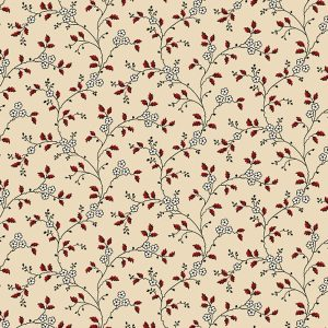 Heritage Red and Green by Judie Rothermel for Marcus Fabrics 8474 Tan Floral Vine