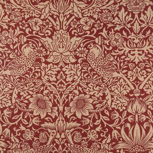 Standen by Morris Straw Berry Thief Red 125QBWM001 Red Moda Backing