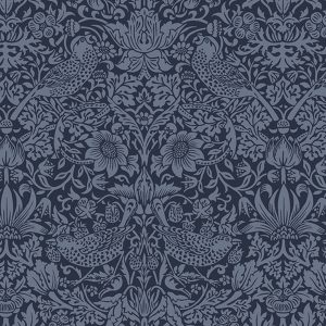 William Morris Standen Strawberry Thief Navy Moda Backing