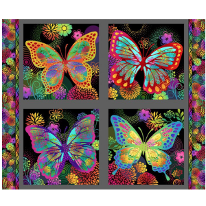 In The Beginning Fabrics Jason Yenter Unusual Garden Multi Black Butterfly Panel