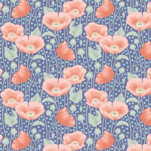 Tilda Gardenlife 100319 Poppies Blue Quiltstof Patchworkstof